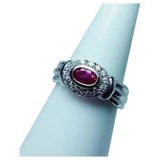 Gem Ruby Diamond 14K White Gold Ring