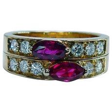 Finest Quality Gem Burmese Ruby Diamond 18K Gold Ring Band