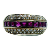 18K Gold Burma Princess Ruby Diamond Ring Band Designer Signed Estate
