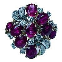 Vintage Designer 3ct Burmese Ruby Diamond Cocktail Ring 18K Gold Heavy Estate