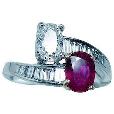 Vintage Platinum Burmese Ruby Gem .60ct Oval Diamond Ring Estate Toi Moi