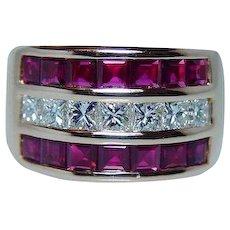 Vintage Ruby Princess Diamond Ring 18K Rose Gold HEAVY Estate VVS 5ct