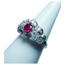 Platinum Ruby Diamond Marquise Baguette Ring  High End