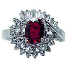 Ruby Baguette Diamond 18K White Gold Ring