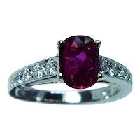 GIA Richard Krementz Natural Thai Ruby Diamond Platinum Ring RKG 1866