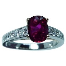 GIA Richard Krementz Natural Thai Ruby Diamond Platinum Ring RKG 1866