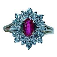 Burma Ruby Baguette Diamond Ballerina Halo Ring 18K Gold Designer CID