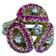 Spritzer & Fuhrmann Vintage Burmese Ruby Diamond Ring 18K Gold Heavy Estate