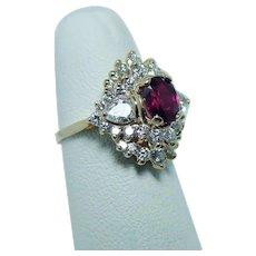 Vintage Ruby Diamond Pear 14K Gold Ring Estate Designer Spark