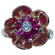 Vintage Diamond Ruby 14K Rose Red White Gold Ring Estate