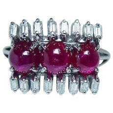 Vintage Platinum Natural Gem Star Ruby Baguette Diamond Ring Estate