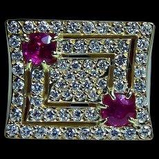 Vintage H Stern 18K Gold Gem Ruby Diamond Ring Heavy Designer Signed