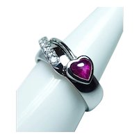 Platinum 14K White Gold Diamond Heart Ruby Ring Band Heavy