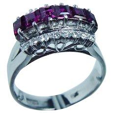 18K White Gold Princess Ruby Diamond Filigree Ring