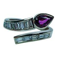 Vintage Baguette Diamond Ruby Snake 18K Gold Ring Estate