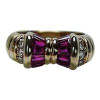 Designer Signed Burma Ruby Diamond Bow Ring 18K Gold Estate
