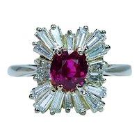 Amsterdam Sauer Burma Ruby Baguette Diamond Ballerina Ring 18K Gold Designer