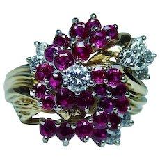 Vintage 18K Gold Diamond Ruby Ring Heavy Platinum Gem Quality Estate