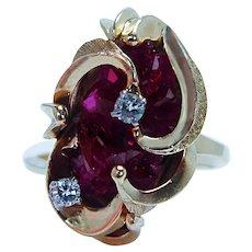 Vintage Ruby Natural Raw Rough Crystal Diamond Ring 14K Gold Estate