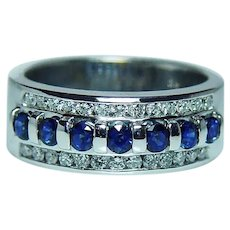 Sapphire Diamond 14K White Gold Band Ring Heavy