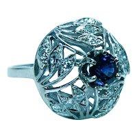 Vintage Sapphire Diamond Cocktail 14K White Gold Ring Large
