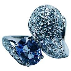 Vintage Ceylon Sapphire Diamond Ring 18K White Gold 3.5ct Colorless Toi et Moi Estate