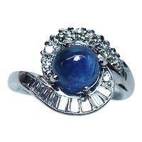 Vintage 18K White Gold Sapphire Baguette Diamond Ring Designer Signed Estate