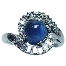 Vintage 18K White Gold Sapphire Baguette Diamond Ring Designer Signed Estate