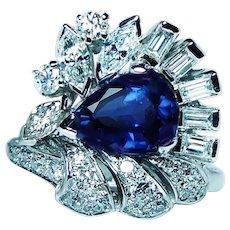 GIA 2.55ct Ceylon Sapphire Marquise Baguette Diamond Platinum Ring Heavy 1950s