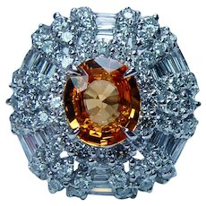 Vintage 18K White Gold Flawless Orange Sapphire Baguette Ballerina Halo Diamond Ring Estate