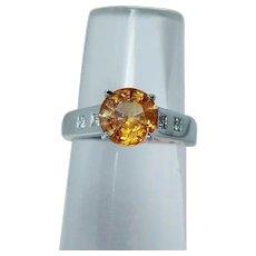 Vintage 14K White Gold Yellow Sapphire Princess Diamond Ring Estate 1.8ct