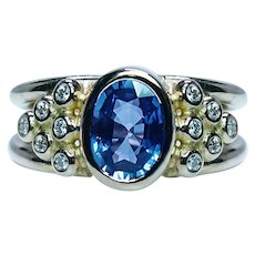 Vintage 1.7ct Sapphire Diamond 18K Gold 3 stone Ring Estate Heavy