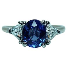 Vintage 1.6ct Gem Ceylon Sapphire Trillion Diamond 3 stone Ring 14K Gold Estate