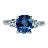 Cushion Ceylon Sapphire Pear Diamond 3 Stone Ring 18K Gold Estate 2.54ct