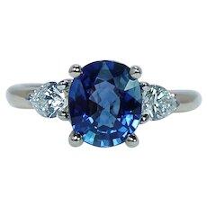 Cushion Ceylon Sapphire Pear Diamond 3 Stone Ring 18K Gold Estate 2.54ct