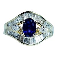 Sapphire Marquise Baguette Diamond 18K Gold Ring