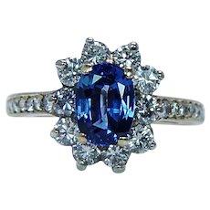 Vintage 18K Gold Ceylon Sapphire Diamond Ring Designer ALBITHEL Appraisal