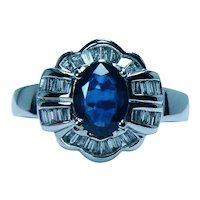 Vintage 18K White Gold Diamond Baguette Sapphire Halo Ring Estate
