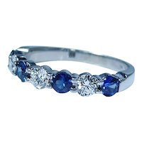 Designer 18K White Gold Ceylon Sapphire Diamond Anniversary Ring Signed