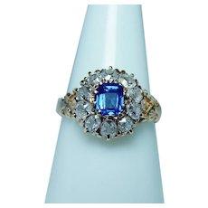 Antique Old Miner Diamond Sapphire Ring 14K Gold Estate circa 1870s