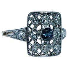Antique Edwardian Old European Diamond Sapphire Ring 18K Gold Platinum
