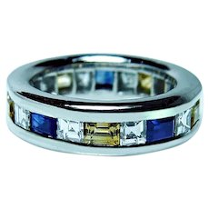 Vintage Platinum Asscher Diamond Sapphire Eternity Ring Heavy Size 5