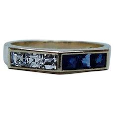 English Asscher Diamond Sapphire Ring Band 18K Gold Estate Designer