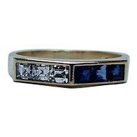 English Asscher Diamond Sapphire Ring Band 18K Gold Estate Designer Set