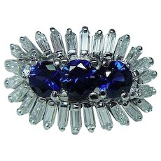 GIA Vintage Platinum  Gem Sapphire Baguette Diamond Ring Heavy Estate