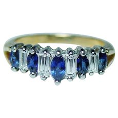 Vintage 18K Gold Platinum Sapphire Baguette Diamond Ring Estate