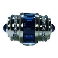 Sapphire Diamond Ring Band 14K Gold Large Heavy Estate