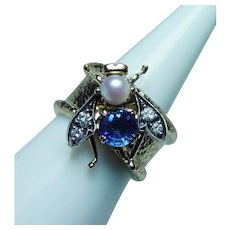Sapphire Diamond Bee Insect Ring Band 18K Gold Heavy