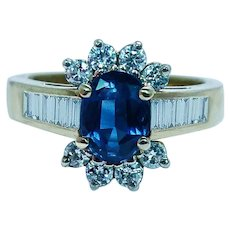 Vintage Sapphire Diamond Ring 18K Gold Designer Signed Estate CID