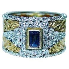 Buccellati Sapphire Diamond Ring 18K Gold Size 6.75-7